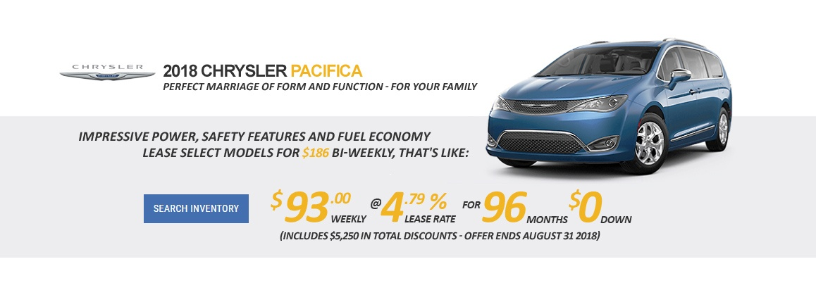 Visit Carter Dodge Chrysler and Receive up to $5,250 OFF Select 2018 Chrysler Pacifica Minivans. Get Yours Today - CALL NOW! (604) 409-4188